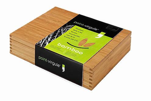 Theedoos 'Point Virgule' (bamboe hout; dichte deksel); 12 vaks