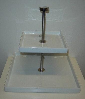 Etagiere 'Asa' 2-delig (porselein/mat rvs) vierkant; 25 cm hoog