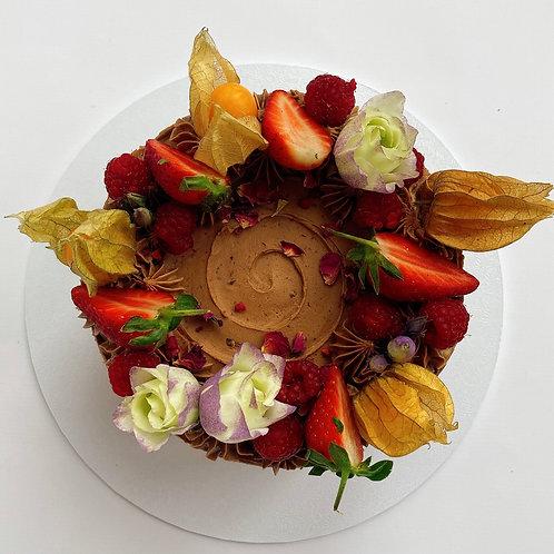 Chocolate, Fruit & Flowers Vegan Layer Cake