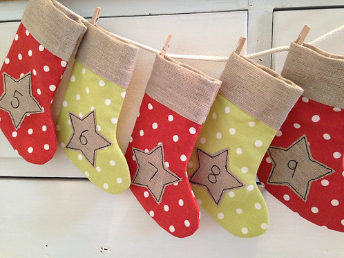 Spotty Christmas Advent Stockings