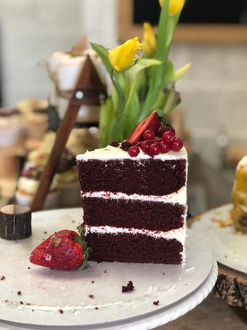 Big Slice of Vegan Red Velvet Cake