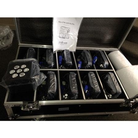 10 x Glow F7W LED Flat Par in Custom Flycase Packa