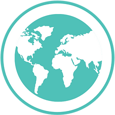 Bright teal icon of a globe showing North America, South America, Africa, Europe, and half of Asia