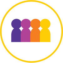 Icon of four people in different colors