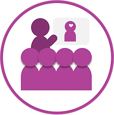Icon with purple stick figure like people attending a training while the facilitator points to a screen with a small purple stick person with a white heart on its head