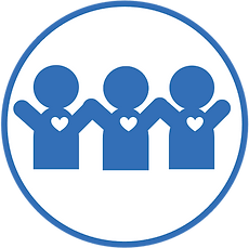 Icon with three blue stick figure people with white hearts on their chests, their arms up in the air