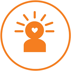 Orange icon of a head with a white heart in the middle and lines around the head like sun rays, signifying that the person is healing