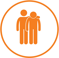 Icon of two orange people, one is looking down and the other has their hand around their shoulders
