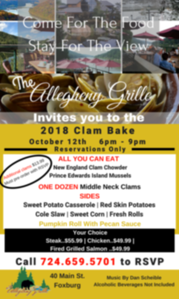 Allegheny Grille in Foxburg clam bake