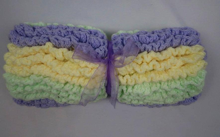 Super Soft Hand-Crocheted Baby Blanket (Purple, Green & White)