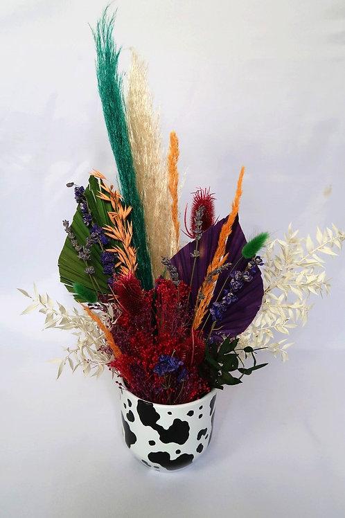 Colourful Cow Vase Arrangement
