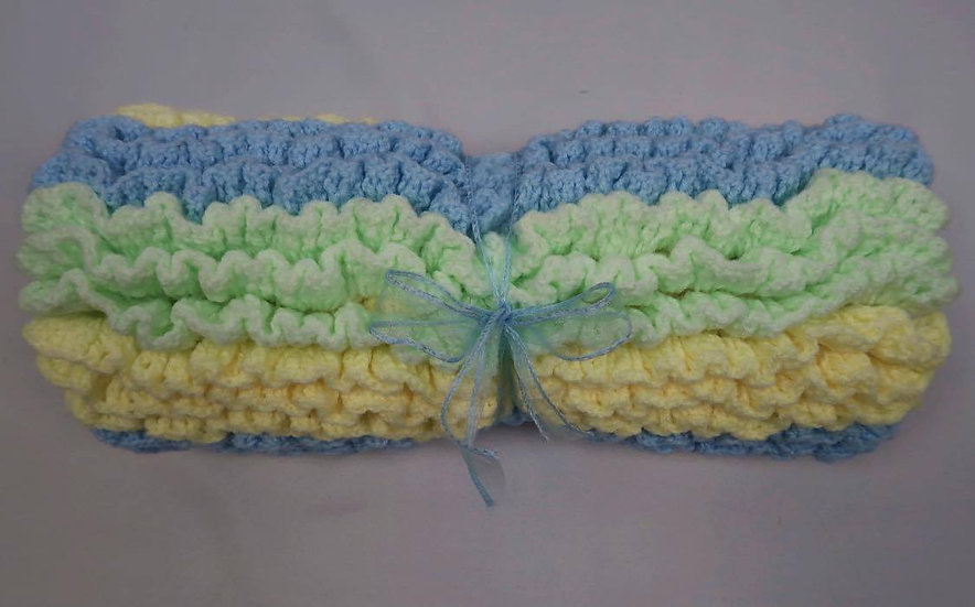 Super Soft Hand-Crocheted Baby Blanket (Blue, Green & Yellow)