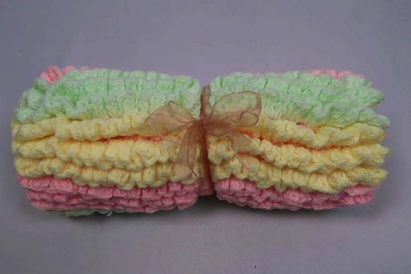 Super Soft Hand-Crocheted Baby Blanket (Pink, Yellow & Green)