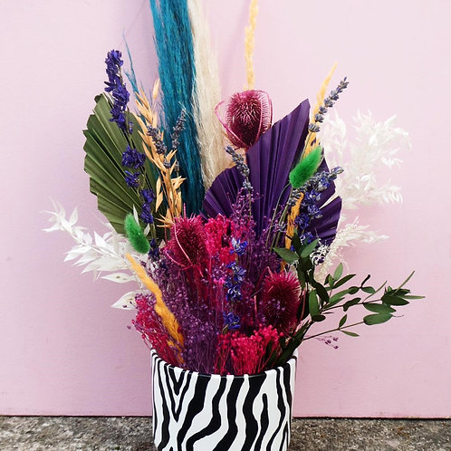 Colourful Zebra Print Dried Arrangement