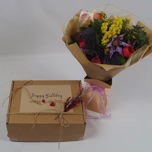 Happy Birthday Gift Box with Flowers