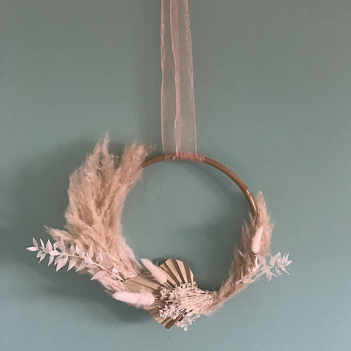 Neutral Tones Dried Flower Hoop