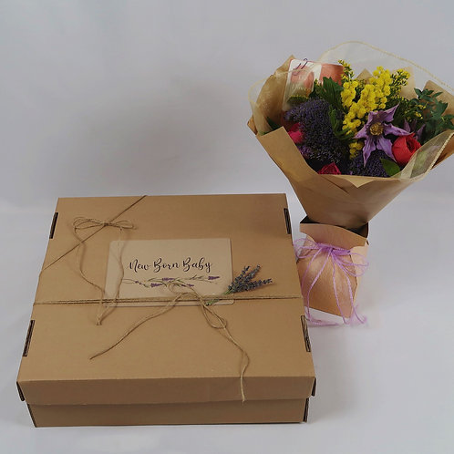 New Born Baby Gift Box with Flowers
