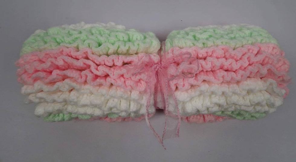 Super Soft Hand-Crocheted Baby Blanket (Pink,White & Green)