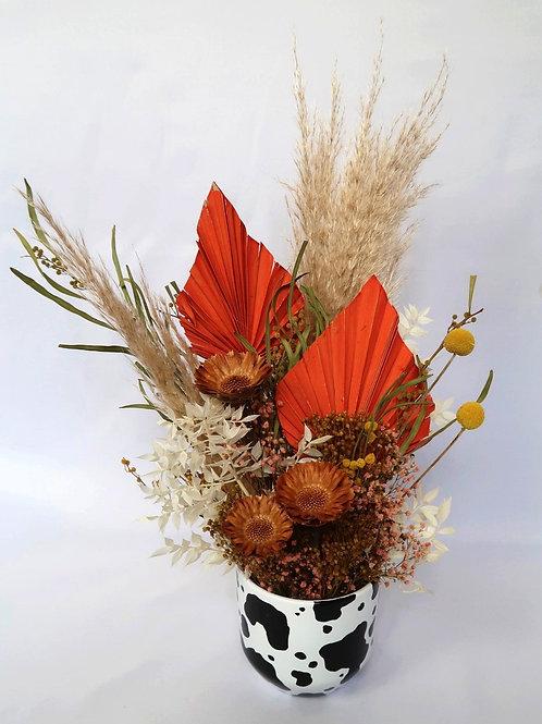 Sunset Cow Vase Arrangement