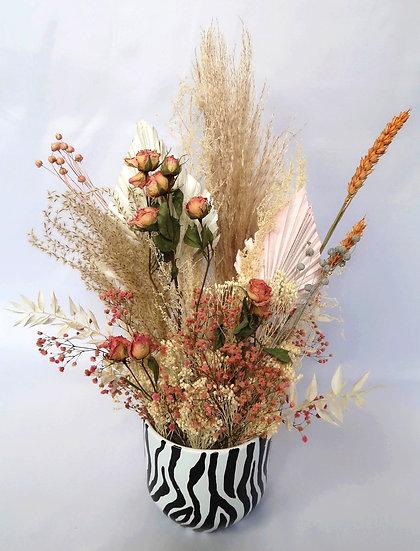 Pink Rose Zebra Vase Arrangement