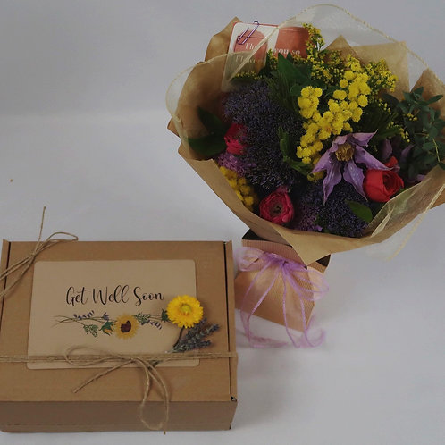 Get Well Soon Gift Box with Flowers