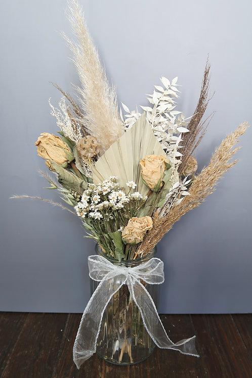 Neutral Glass Vase Arrangement