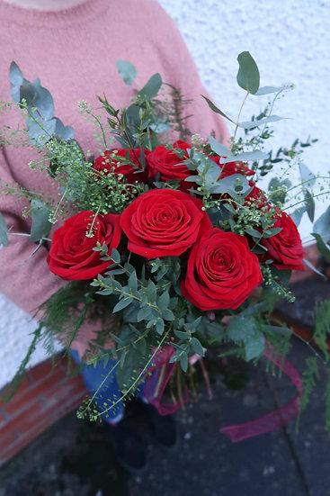 A Dozen Roses & Eucalyptus