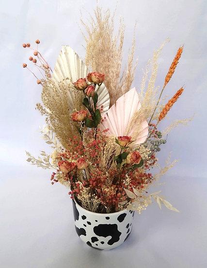 Pink Rose Cow Vase Arrangement