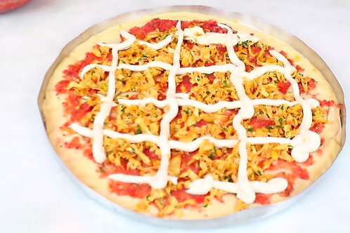 """Pizza de """"frango"""" vegano com catupiry de castanha de cajú"""