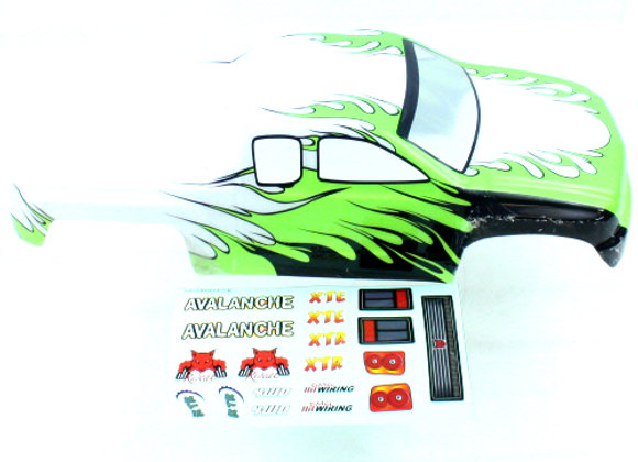 1/8 Truck Body White/Green/Black Flame