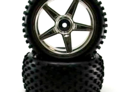Chrome rear wheels and tires 2pcs