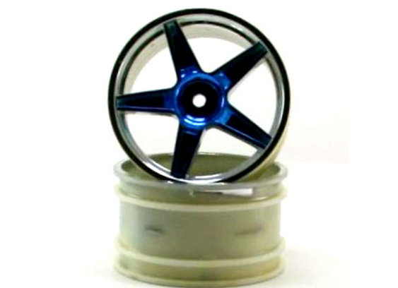 Chrome rear 5 spoke blue anodized rims 2 pcs