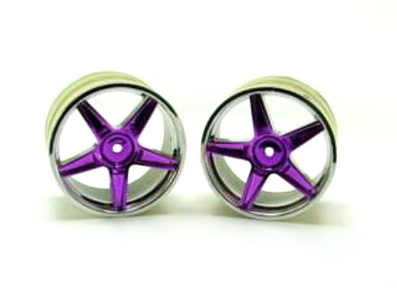 Chrome rear 5 spoke purple anodized wheels 2 pcs