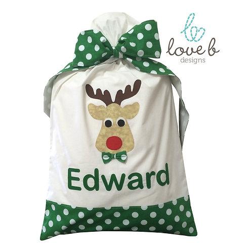 Personalised Santa Bag - white & green spots design