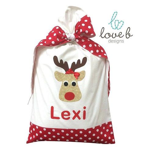 Personalised Santa Bag - white & red spot design