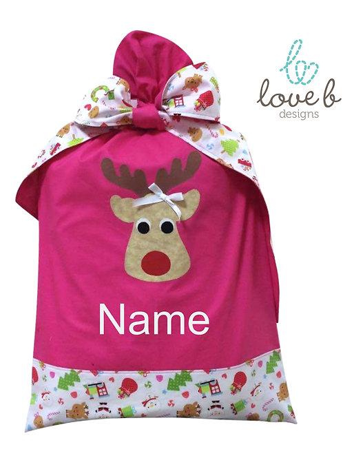 Personalised Santa Bag - pink Christmas scene design