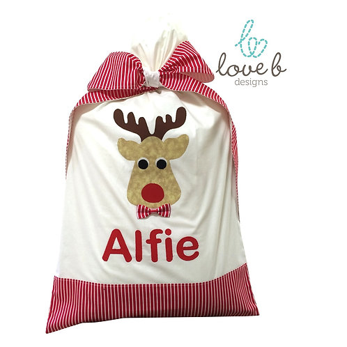 Personalised Santa Bag - white & red stripes design