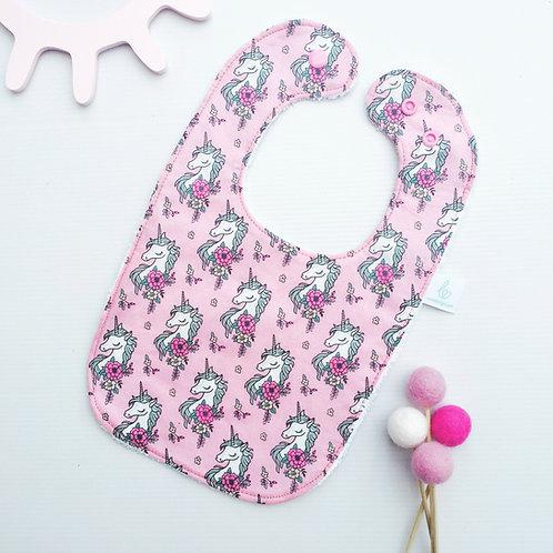 Pretty in pink Unicorn bib