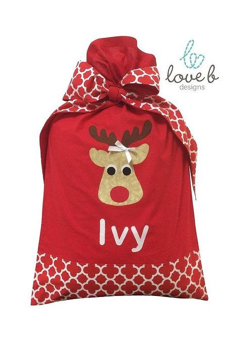 Personalised Santa Bag - red quatrefoil design