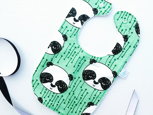 Pistachio Panda Standard shape bib