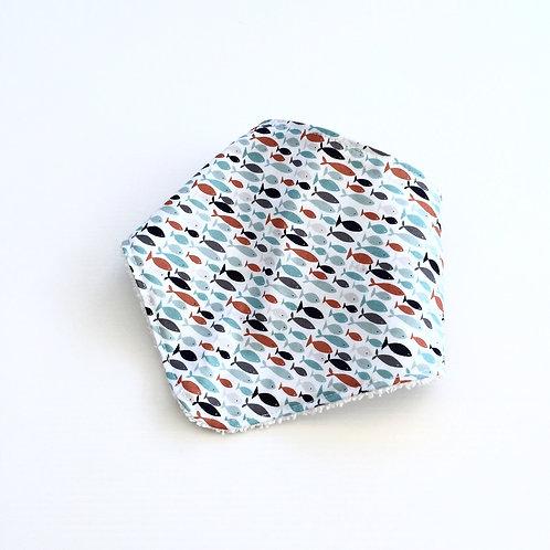 Seaside fish bandana bib