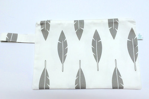 Grey Feather Pouch