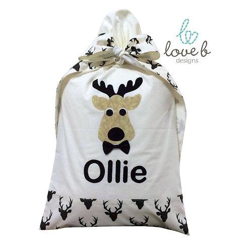 Personalised Santa Bag - Cream and Black Elk