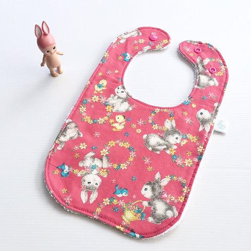 Vintage bunnies in dark pink bib