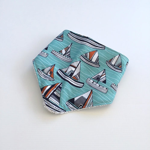 Seaside boats bandana bib