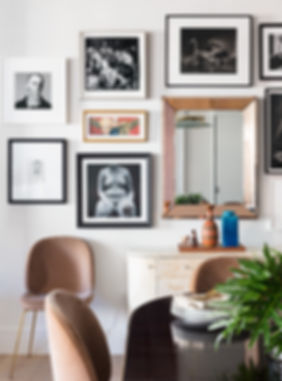 Brooklyn interior design, cozy calm home, feng shui New York City, Catherine Brophy interior design, transform your home, transform your space, gallery wall, DeMuro Das, Décor NYC, Gubi chairs