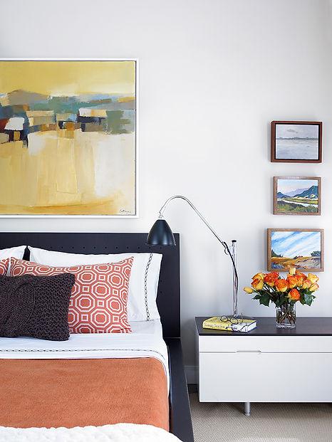 Colorful Brooklyn bedroom, midcentury modern Brooklyn bedroom