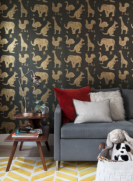 Brooklyn interior design, cozy calm home, feng shui New York City, Catherine Brophy interior design, transform your home, transform your space, paper boy wallpaper, playroom, midcentury modern playroom