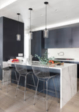 Brooklyn interior design, cozy calm home, feng shui New York City, Catherine Brophy interior design, transform your home, transform your space, Calacatta marble island, niche modern pendants, dark modern kitchen cabinetry