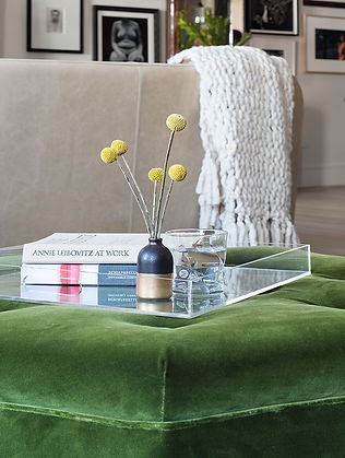 Brooklyn interior design, cozy calm home, feng shui New York City, Catherine Brophy interior design, transform your home, transform your space, Green velvet ottoman, lucite tray, velvet ottoman, chunky wool throw